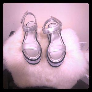 Silver Aldo Platform Sandals